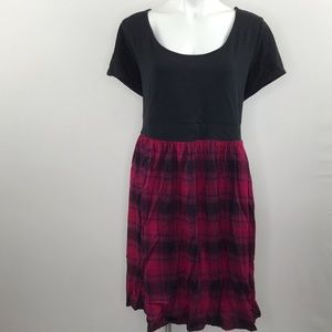 Torrid Knit to Woven red plaid dress